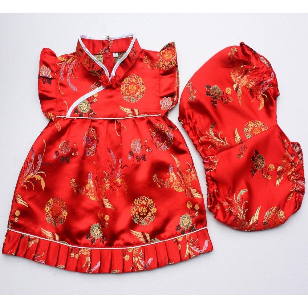 2018 New Summer Floral bé gái quần áo thiết outfits trẻ sơ sinh phù hợp với Năm Mới ngọn Trung Quốc dresses ngắn quần sườn xám Cái Yếm