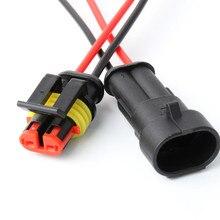 10/50/100 set/lote AMP TE 2 Pin/de forma impermeable Superseal Conector de cableado eléctrico enchufe con 0,5 1,5mm de alambre de Cable Pigtail