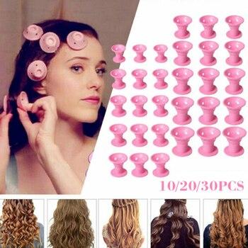 10/20/30 ピース/セットソフトゴムマジックヘアケアローラーシリコーン髪カーラーなし熱なしクリップ髪カーリングスタイリング diy ツール