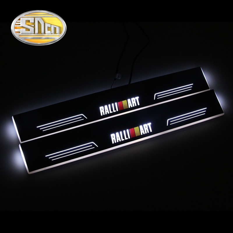 Waterproof Ultrathin LED Welcome Scuff Plate Pedal Door Sill For Mitsubishi Lancer Ralliart 2009 2015 2pcs