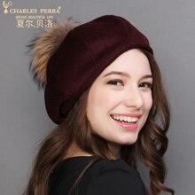 Charles Perra Women Winter Hat Warm Wool Cap New Fashion Elegant Bowknot England Lady Berets Casual Female Fedoras 0624
