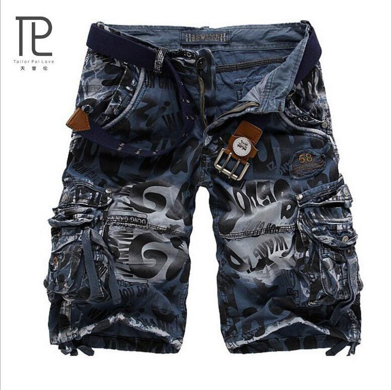 New Brand Bermuda Masculina Loose Cargo Shorts Men Summer Beach Casual Cotton Multi-Pocket Mens Joggers Short Pant Plus Size #c
