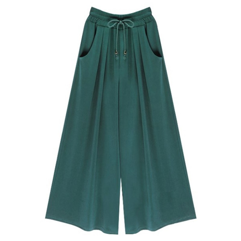 Women Summer Wide Leg Pants Female Casual Loose Harem Pants Palazzo Culottes Stretch Tro ...