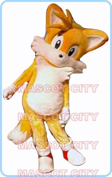 Талисман Желтый хвосты Fox талисмана Ежик взрослый размер Лидер продаж Аниме маскарадные костюмы Карнавальный нарядное платье 2657
