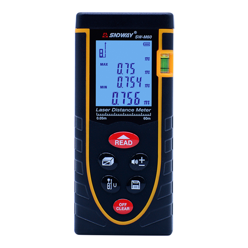 Laser distance meter 60m laser Rangefinder with Bubble level Tape measure Area/volume M/Ft/in tool SW-M60 Range finder elecall em5416 200 high quality multipurpose level with bubble laser horizon vertical measure tape the horizontal ruler