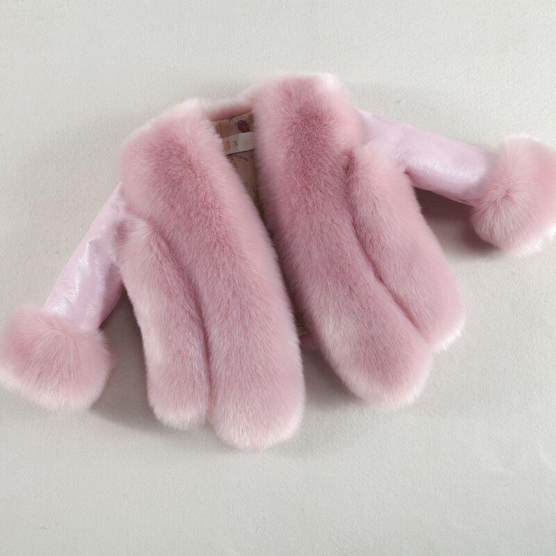 Nouveau hiver enfants filles fausse fourrure manteau chaud bébé filles renard fourrure vestes pour filles manteau épais fille fourrure manteau vêtements d'extérieur pour enfants