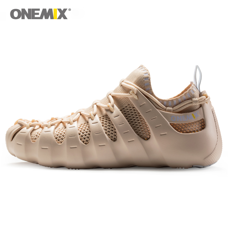 Onemix men & women beach sandals Rome shoes gladiator set shoes light cool outdoor walking shoes sock-like slipper jogging shoes