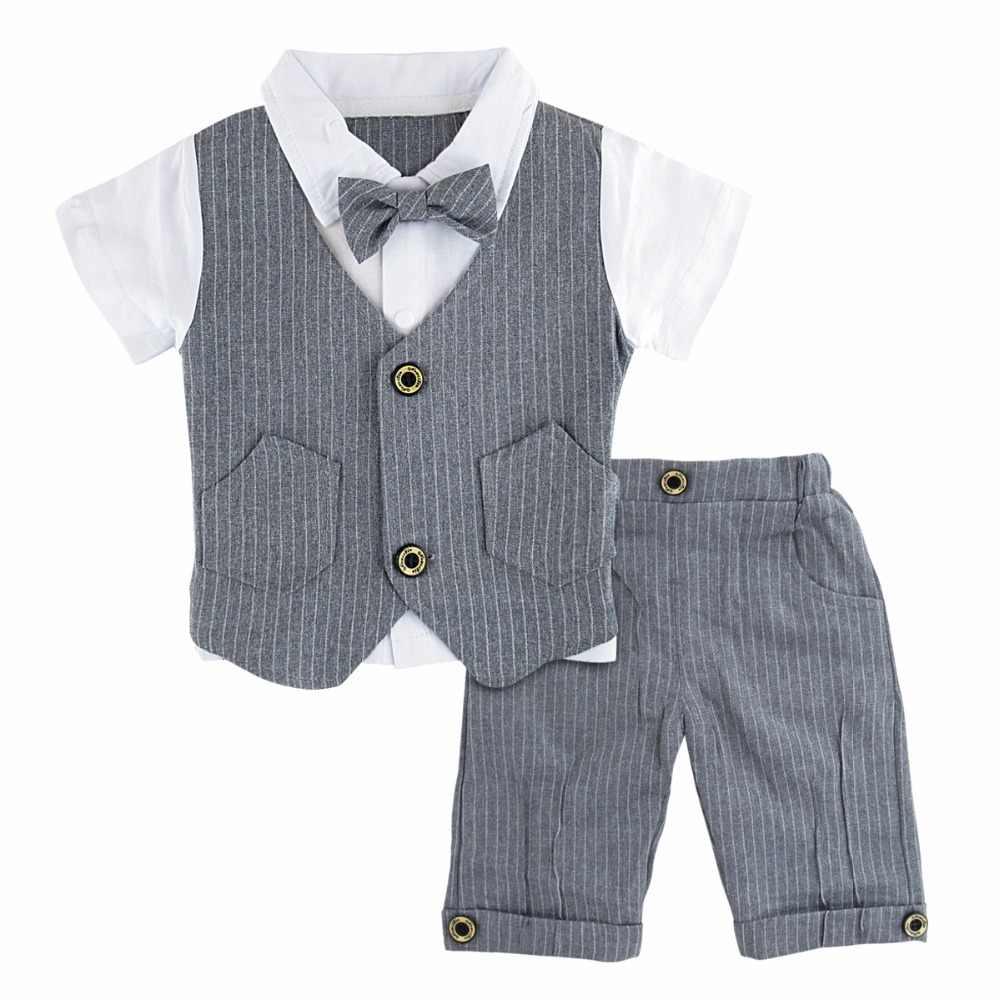 Baby Boy Джентльмен Костюм Набор Детей Крещение Свадебный Смокинг Формальный Наряд Младенца День Рождения Подарок Летняя Одежда 2 ШТ
