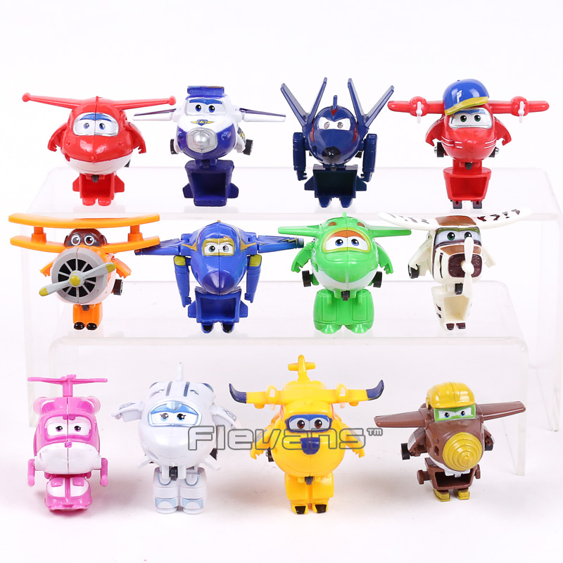 Super Wings Mini Planes font b Toys b font Deformation Airplane Robots Donnie Dizzy Mira Jett