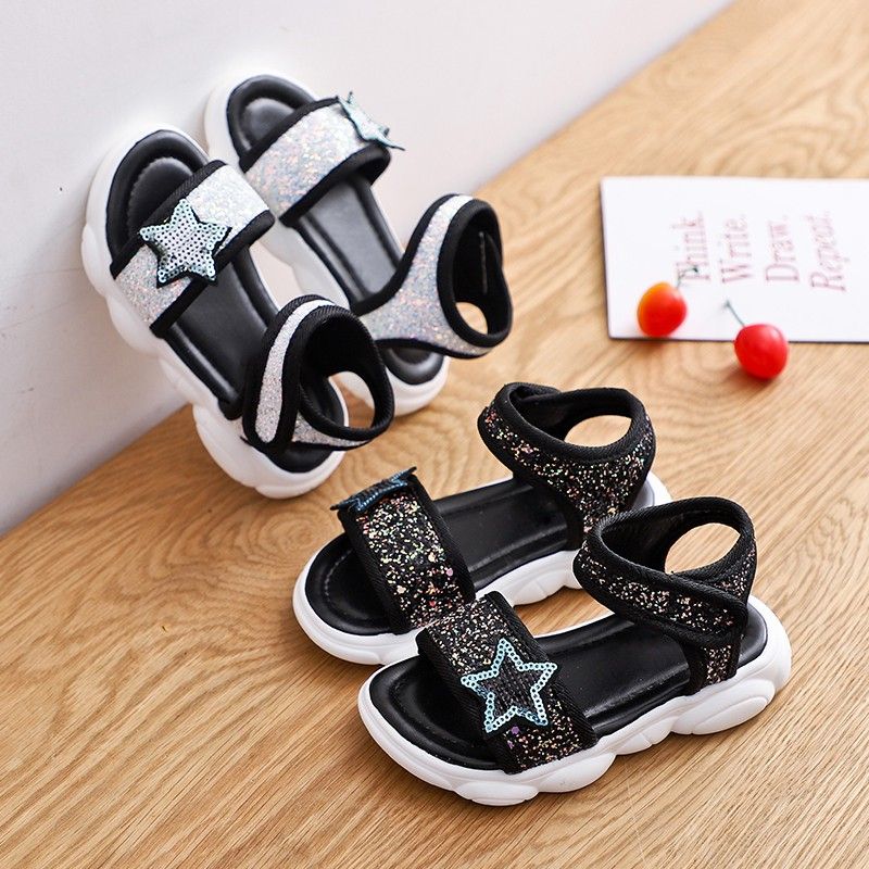 Summer Baby Girls Casual Sandals Sequins Princess Shoes Beach Shoes Velcro PU Shoes(China)