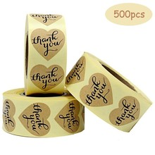 500pcs Thank You Heart Shape For DIY Hand Made Gift self-adhesive Label Stickers Birthday Party Candy Cake Sticker
