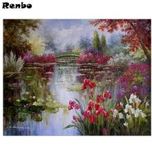 Full Square Mosaic diamond Embroidery,Claude Monet,5d Diy Diamond Painting Water LiliesCross Stitch Needlework rhinestones art