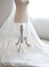5 yards Off white soft tulle lace fabric with leaf and line floral embroidery for wedding, gowns , bridal veils, bodice