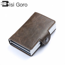 BISI GORO 2019 Vintage Business 2 Aluminum Wallet for Credit Card Holder Case ID Metal Holders With RFID