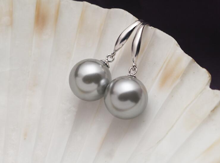 10mm 12mm 14mm 16mm women Jewelry Earring bright gray round bead natural South Sea shell pearl dangle hook Earring