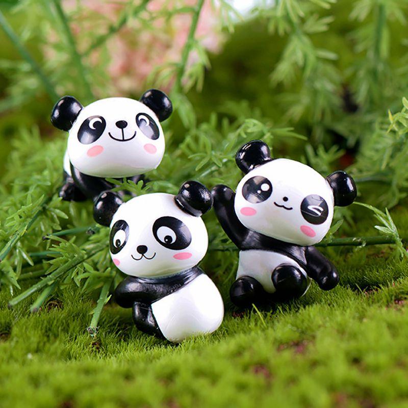 8 teile/satz Nette Panda Moos Micro Landschaft Harz Lustige Panda Miniatur Garten Figuren Sukkulenten Pflanzen Topf Der Party Decor