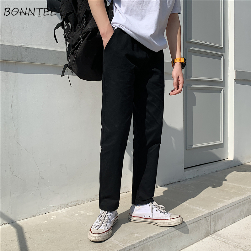 Pants Men Straight Solid Simple All Match Drawstring Loose Mens Casual Ulzzang Trousers Korean Style Ankle-length Pant Daily