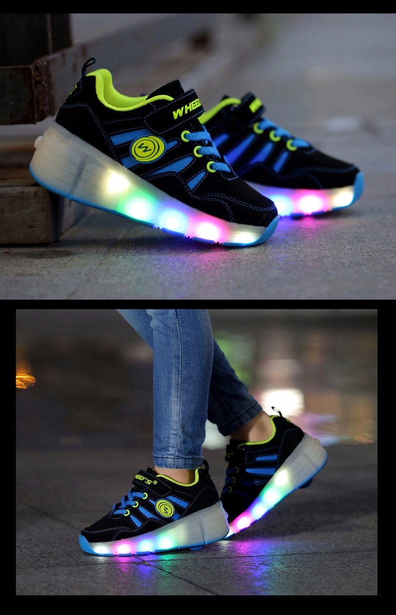High Quality Cheap Boys LED Sneakers With Wheels Kids Light Up Shoes Girls Roller Skates tenis de rodinha4