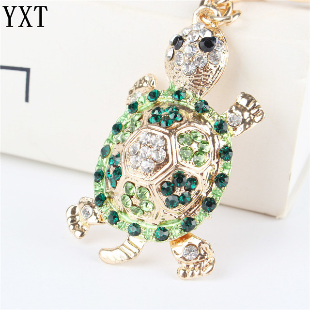 Green Tortoise Turtle Pendant Charm Rhinestone Crystal Purse Bag Keyring Key Cha