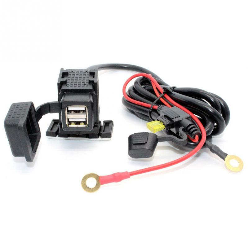 12V Motorcycle Waterproof Dual USB Charger Phone GPS Power Socket Adapt Outlet