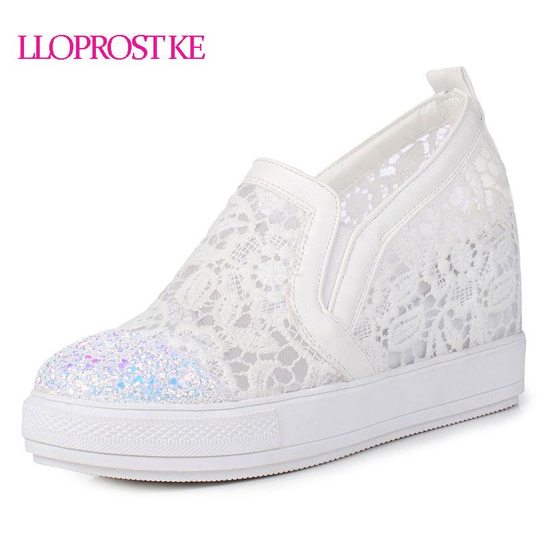 Llopost كه أنيقة المتسكعون أحذية النساء عارضة الدانتيل جولة تو أحذية امرأة الأزياء بلينغ منصة زيادة الصيف dxj2146