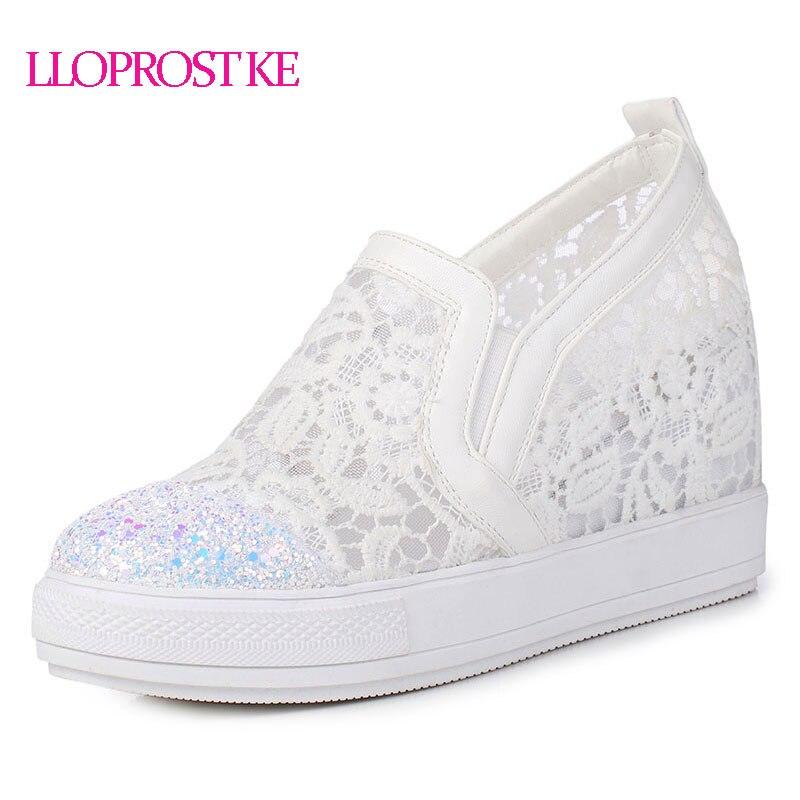 LLOPROST KE Elegante Loafers Schoenen Dames Casual Kant Ronde neus Schoenen Vrouw Mode Bling Platform Toenemende zomer dxj2146