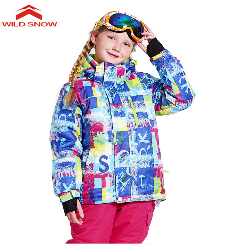 WILDSNOW Boys Girls Winter Outdoor Ski Jackets Thermal Waterproof Children Kids Skiing Snowboarding Camping Hiking Jackets MI015 new winter 3 in 1 kids hiking jackets children boys girls waterproof thermal two piece fleece coats hiking skiing jacket