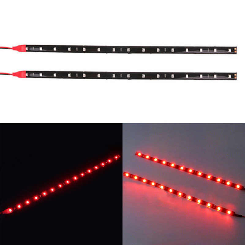 2PCS New 30cm 5050 12 LED Flexible Red LED Strip Light DIY Decoration For Car Boat Decor Strips Lamp Waterproof