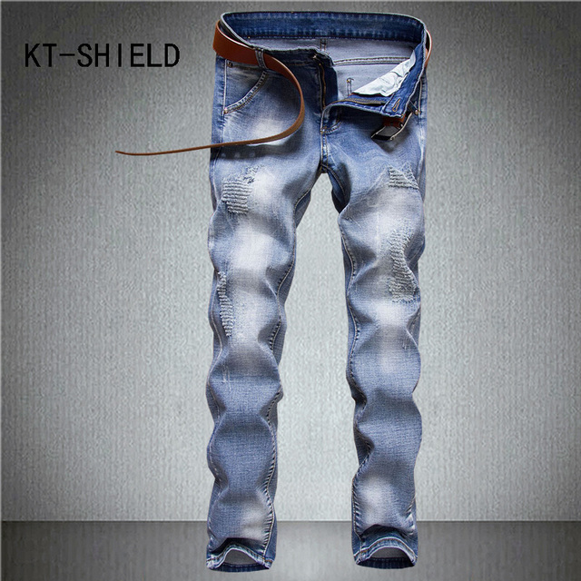 Motorista para hombre flaco denim jeans lamentando ripped straight ...