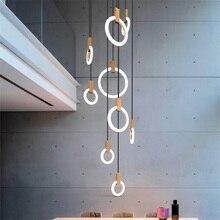Nordic LED Chandelier Modern Living Room Pendant Lamps Bedroom Decor Fixtures Stair Lighting Loft Illumination Long Hanging Lamp