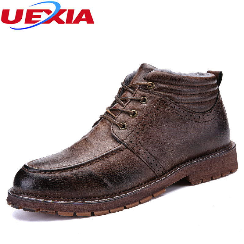 UEXIA New Arrival Fashion Men Winter Warm Plush Ankle Boot Snow Work font b shoes b