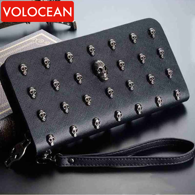 Skull Rivet PUNK Style Designer Bag For Celebrity Women Rock Hip Hop Style Purse 2016 Famous Brand NEW Zip PU Leather Clutches