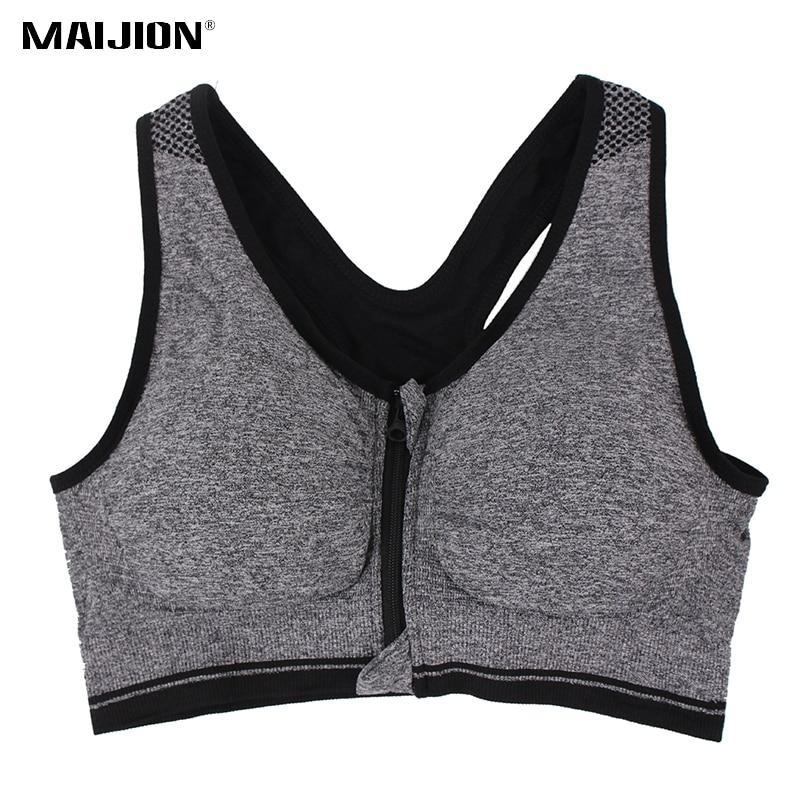 MAIJION Professional Plus Size Women Sports Bras Stretch Shockproof Fitness Yoga Bra Underwear Zipper Gym Running Vest Tops XXXL