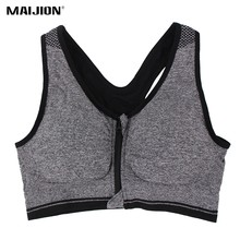 MAIJION Professional Plus Size Women Sports Bras Stretch Shockproof Fitness Yoga Bra Underwear Zipper Gym Running Vest Tops XXXL(China)