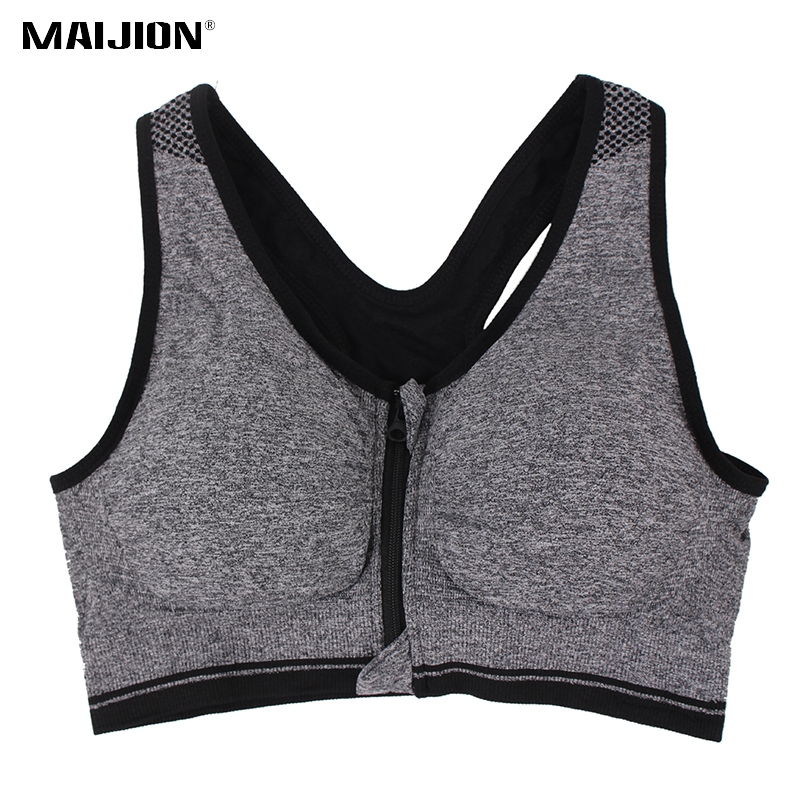 MAIJION Professional Plus Size Women Sports Bras Stretch Shockproof Fitness Yoga Bra Underwear Zipper Gym Running Vest Tops XXXL