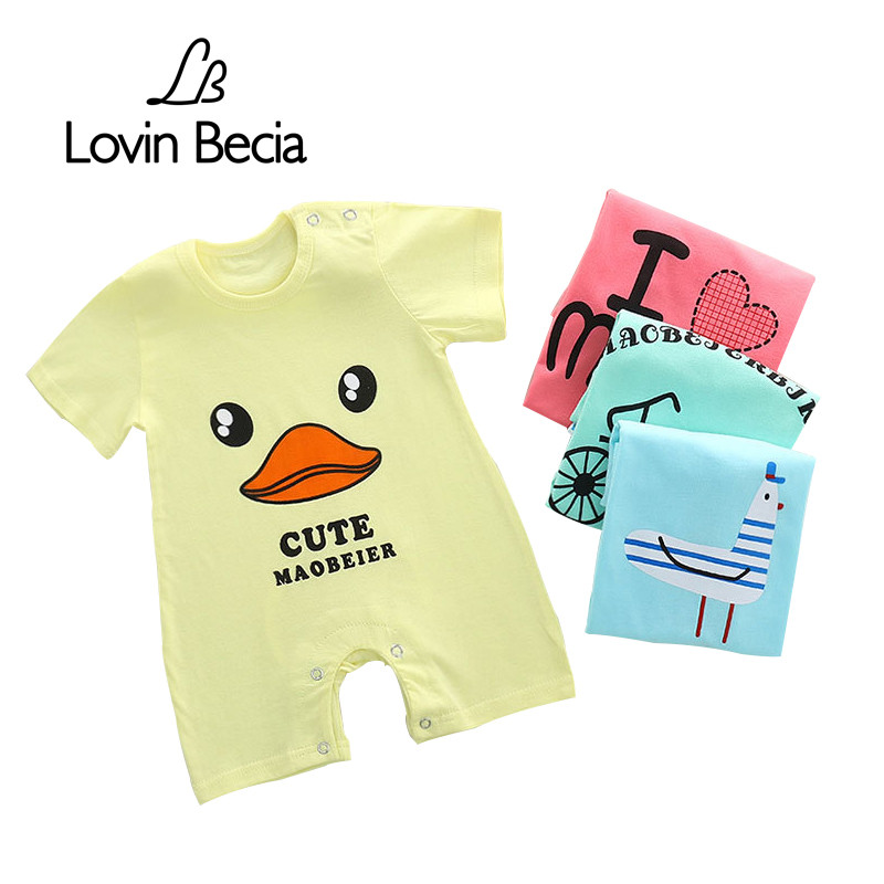Lovin Becia brand Infant newborn Rompers Baby Girls Boys short sleeve Jumpsuit Cotton Cartoon cute Summer fashion kids Clothes baby boys rompers infant jumpsuits mickey baby clothes summer short sleeve cotton kids overalls newborn baby girls clothing