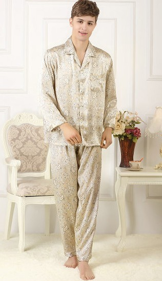 100% Mulberry Silk Pajamas Set, Men's Silk Home Wear, Long Sleeve Trousers, Beige Print Big Size, Casual Burst 3