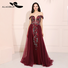 Alagirls A Line Beaded Prom Dresses V Neck Off The Shoulder Evening Dress Vestido de fiesta Formal Party Dress Vestido de noche 2019 women chiffon prom dresses off shoulder formal party gowns vestidos de fiesta de noche