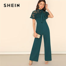 e1e5ca3c743f SHEIN Green Bow Tie Neck Lace Cape Sleeve Wide Leg Jumpsuit Spring Summer  Lady Elegant High Waist Lace Mesh Solid Jumpsuit