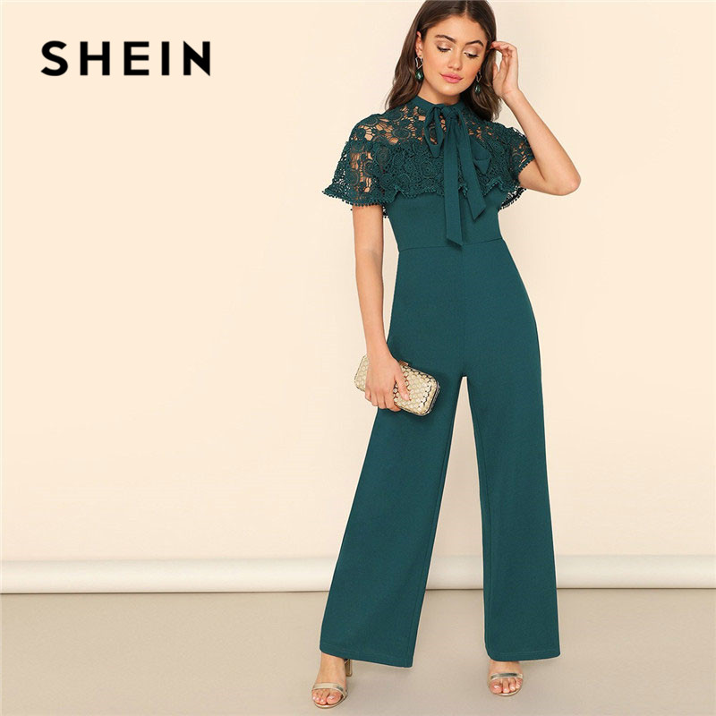 SHEIN Green Bow Tie Neck Lace Cape Sleeve Wide Leg   Jumpsuit   Spring Summer Lady Elegant High Waist Lace Mesh Solid   Jumpsuit