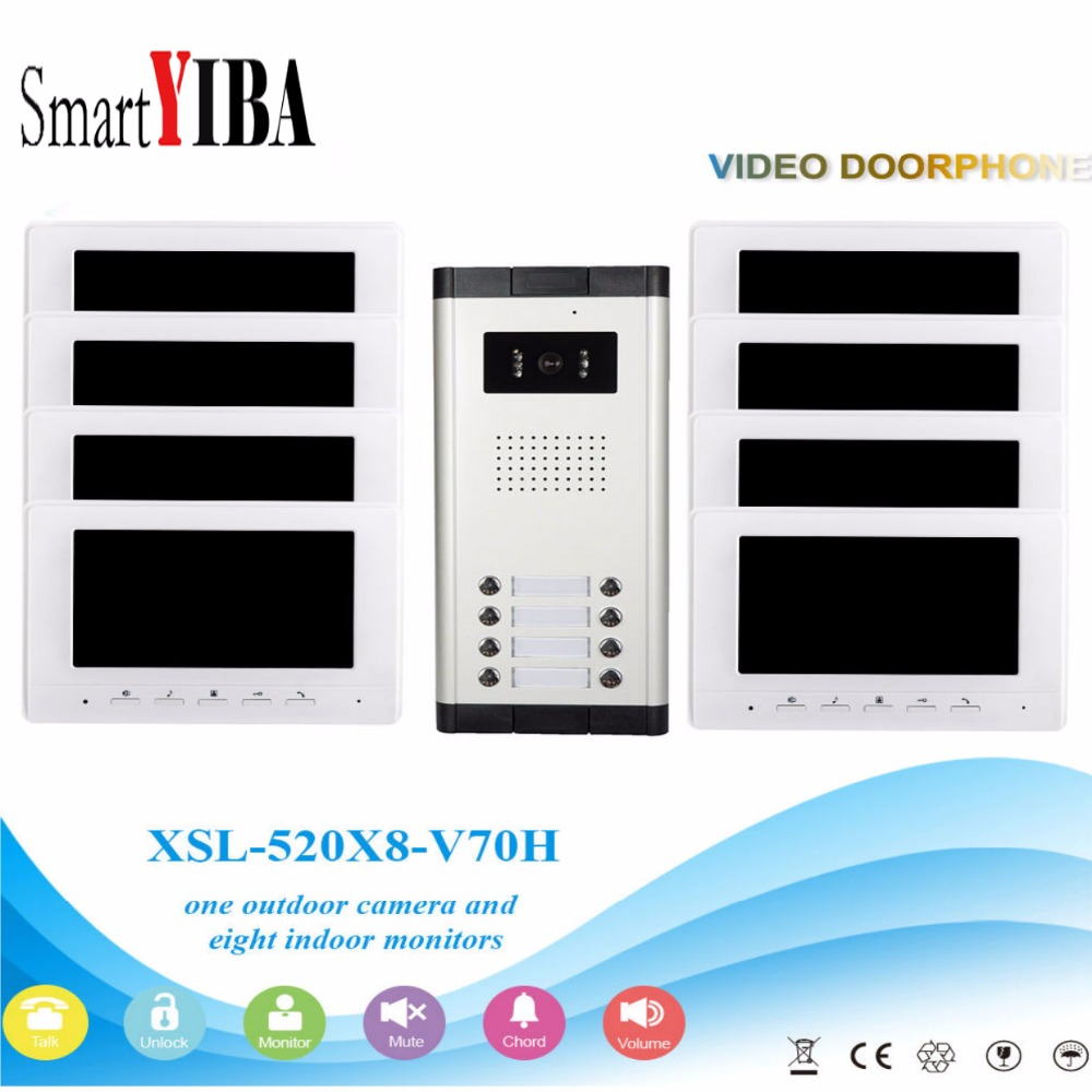 SmartYIBA 7''Inch Wired Color Video Door Phone Video Doorbell Intercom System Kit Set 8 Monitors+1 IR Camera With 8 Buttons