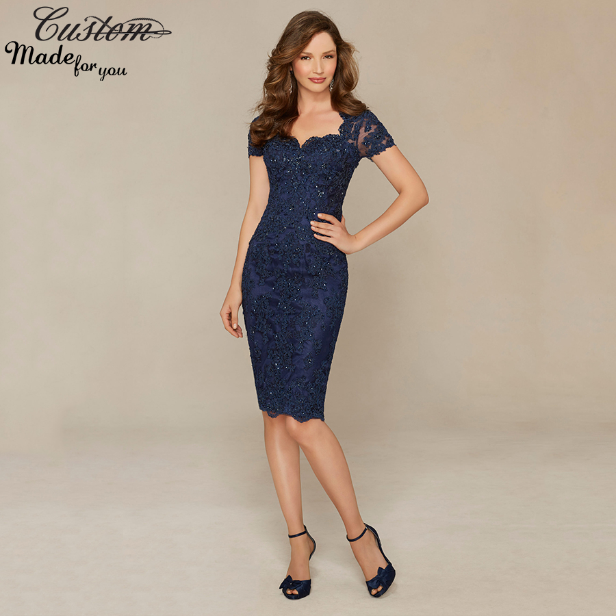 Gorgeous sheath fitted evening dress short sleeve navy for Knee length fitted wedding dresses