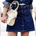 2016 novo estilo verão saias vintage womens botão grande bolso da saia feminina A - linha de jeans cintura alta saia jeans feminina
