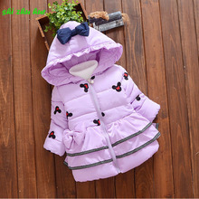 Children clothing 2017 Winter Boys Girls Jacket  Girls Outerwear Children kids Hooded Cotton Coat For Girls Clothes (1-3 year) kids winter clothing sets for 3 10y boys and girls hooded 90