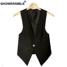 SHOWERSMILE Black Sleeveless Vests For Women Slim Fit Waistcoat Single Button Suit Vest Female OL Jackets Autumn Summer Gilet vests modis m181w00785 women vest jacket sleeveless jackets for female tmallfs summer