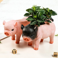 Best Selling Cute Pig Statue Fower Pot resin Crafts Living Room Decoration Vase Green Fower Plant Pot home Decoration Accessorie