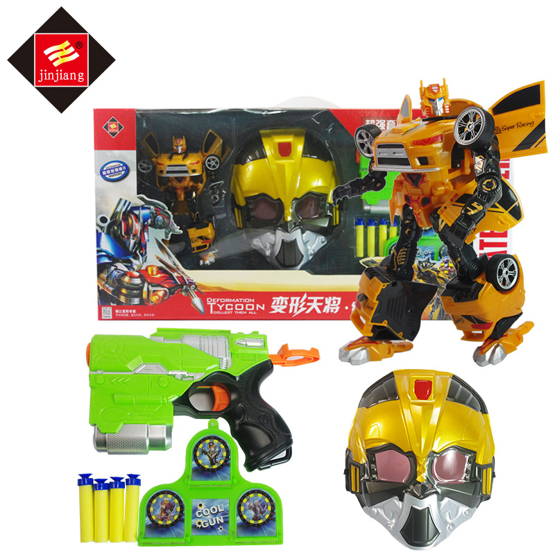 3in1 Soft bullet gun Armor Mask Set Transformation Deformation Robot Truck Sports car Model Toy Action Figures Toys viruses cell transformation and cancer 5