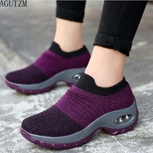 AGUTZM pring women sneakers shoes flat slip on platform for black breathable mesh sock W20