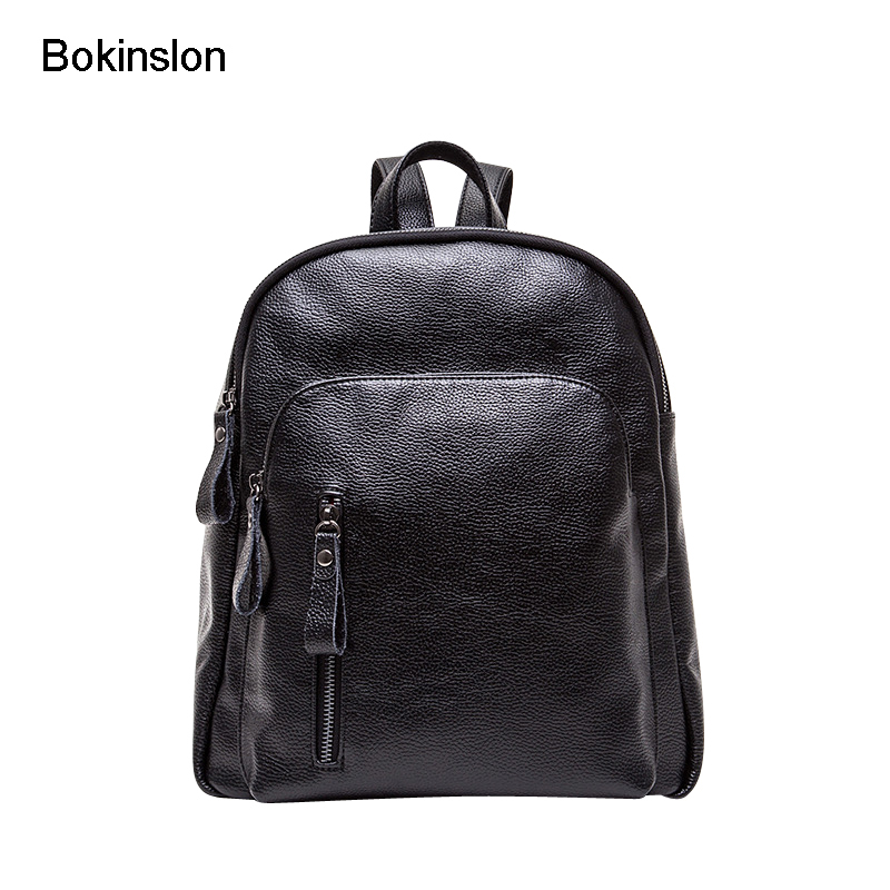 Bokinslon Travel Backpacks Women PU Leather Solid Color Woman Backpacks Bags Zipper Fashion Female Popular Bags