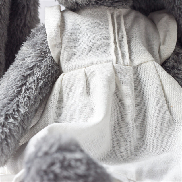 Plush toy grey rabbit wear white linen skirt beautiful bunny new design high quality sitting tall 28cm total 45cm